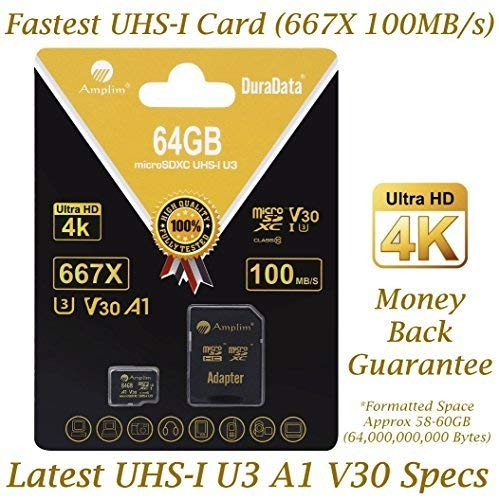 Amplim 64GB Micro SD SDXC V30 A1 Memory Card Plus Adapter Pack (Class 10 U3 UHS-I MicroSD XC Extreme Pro) 64 GB Ultra High Speed 667X 100MB/s UHS-1 TF MicroSDXC 4K Flash - Cell Phone, Drone, Camera