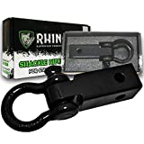 RHINO USA COMBO Shackle Hitch Receiver & 30' Tow Strap, Best Towing Accessories for Trucks & Jeeps, Connect Your Rhino Tow Strap for Vehicle Recovery to This 31,418 Lbs Capacity Reciever