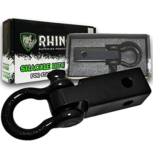 (RHINO USA Shackle Hitch Receiver, Best Towing Accessories for Trucks & Jeeps, Connect Your Rhino Tow Strap for Vehicle Recovery to This 31,418 lbs Capacity Reciever, Mounts to 2