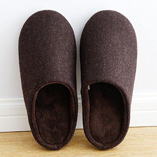 CWAIXXZZ pantoufles en peluche Automne hiver chaud épais hommes chaussons Chaussons en coton intérieur chaleureux parquet accueil semelle en caoutchouc imperméable pour l( ,40-42), pure couleur brun f