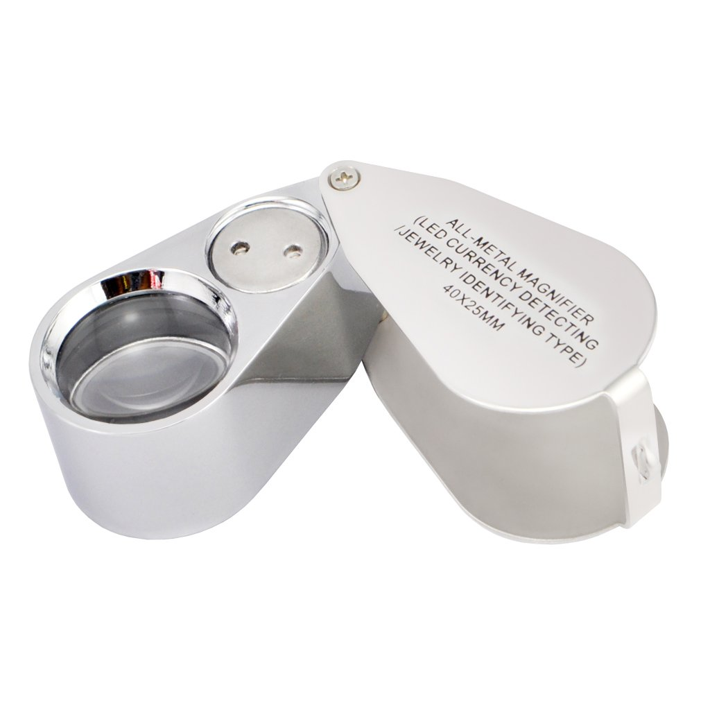 iKKEGOL Loupe bijoutier 40 X 25/mm Grossissement tous m/étaux LED UV LED pour d/étection de devise//identification de type de bijou