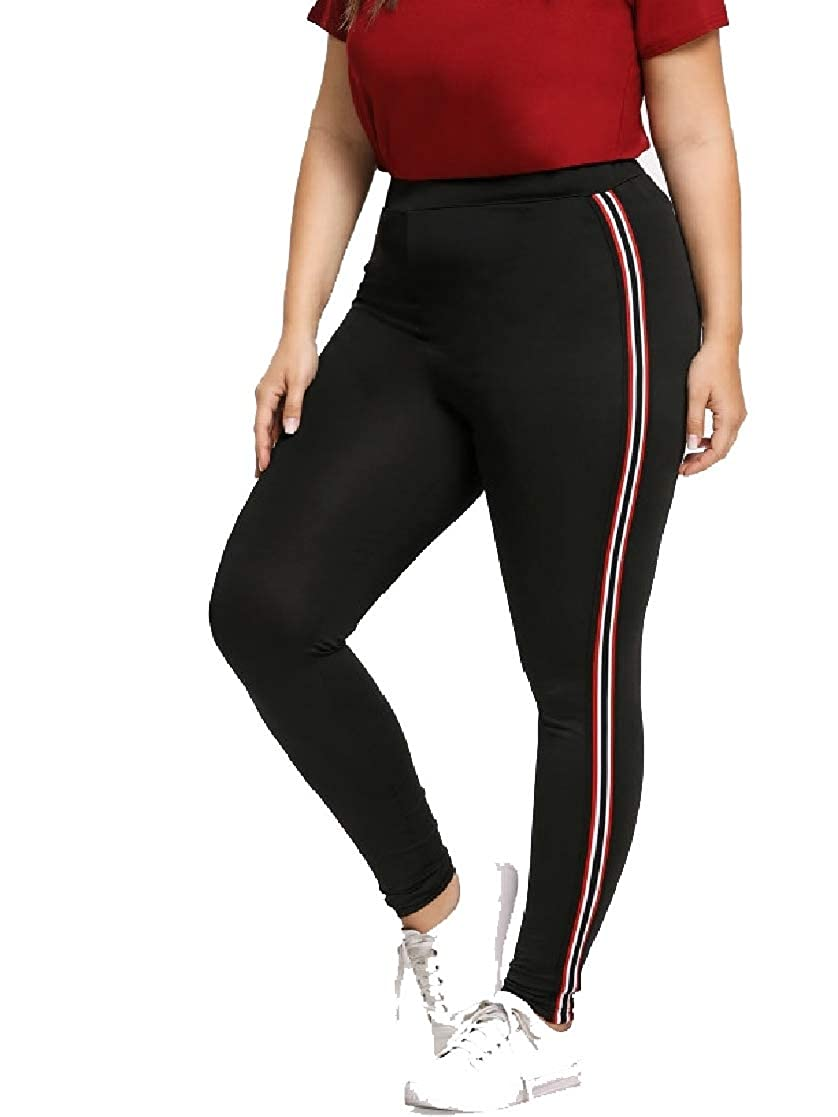 TaoNice Women's Over Sized Stretchy Fabric Autumn Stripes Yoga Tights Leggings