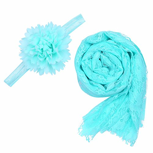 [FEESHOW Newborn Baby Lace Wrap Cloth Photography Yarn Blanket Flower Headband Prop Outfit Sky Blue one] (Cute Maternity Costumes Halloween)