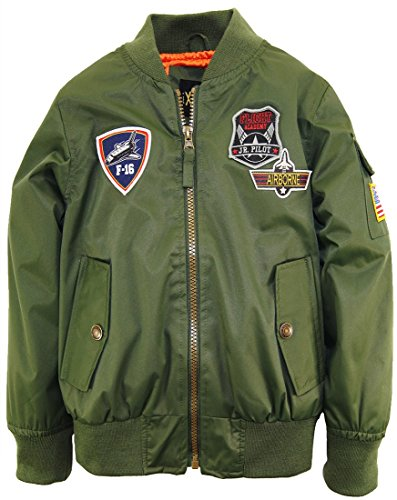 iXtreme Little Boys' Poly Twill Flight Jacket with Satin Lining, Olive, 4