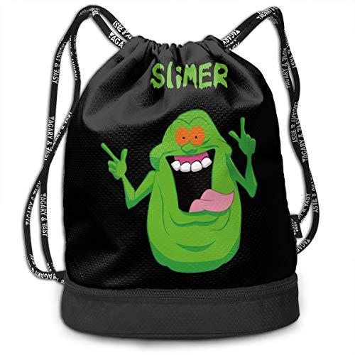 Cheny Drawstring Backpack The Real Ghostbusters Slimer Game Cartoon Sports Gym Cinch Sack Bag for Women Men Girls Sackpack Dance Bag