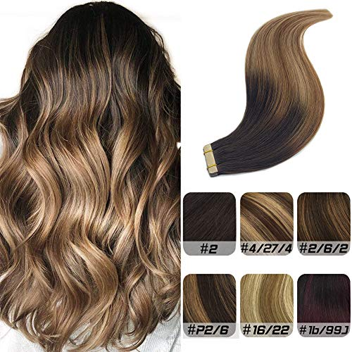 Labeh 22inch Tape Ombre Hair Extensions Remy Human Hair Yellow Tape Double Sided Dark Brown to Light Brown and Ash Blonde 20pcs 50g
