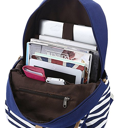 DATO Bolso Mochilas Escolares Raya Mochila de Lona para Mujer Moda Juvenil Grand Capacidad Viaje Mochilas Tipo Casual Backpacks Azul oscuro