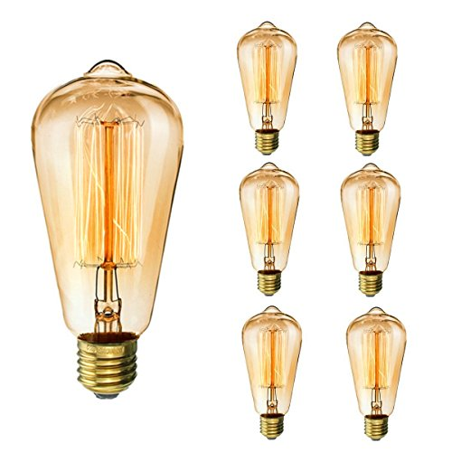 KINGSO Vintage Edison Bulbs 40W Squirrel Cage Filament Incandescent Antique Light Bulb for Home Light Fixtures E27 Base ST64 110V - 6 Pack