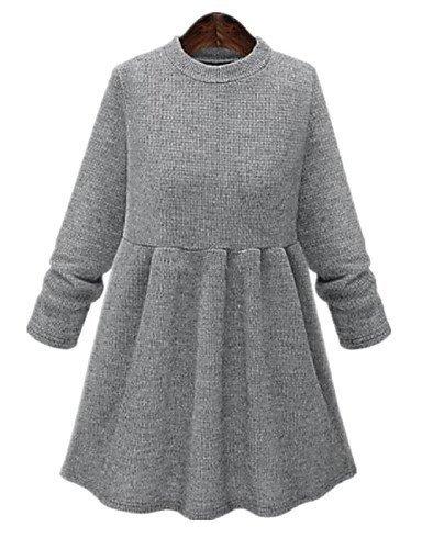GSP-Damen Kleid - Übergrößen Übergröße / Leger Solide Mini Baumwolle / Polyester Rundhalsausschnitt