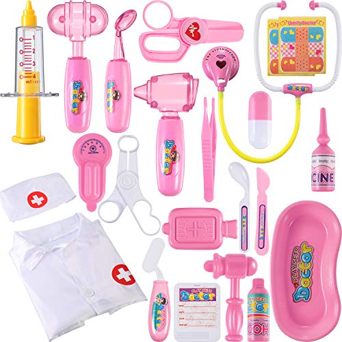Chuangdi 24 Pieces Doctor Kit for Kids Realistic
