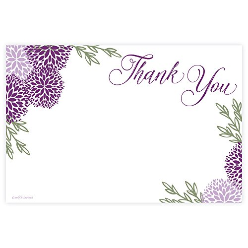 Purple Floral Thank You Cards (20 Count) ()