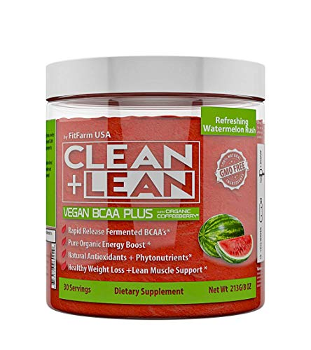 """Cheap Clean+Lean Vegan BCAA""""Plus"""" by FitFarm USA: Ultra-Clean Plant Fermented BCAA's + Organic Energy, Diet Support, Phytonutrients,and Antioxidants Fuel and Recharge Body+Mind 100% Natural and GMO-Free"""