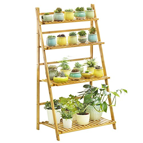 Bamboo 4-Tier Plant Stand Planter Shelves Flower Pot Organizer Storage Rack Folding Display Shelving Plants Shelf Unit Holder