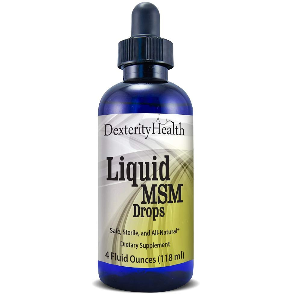 Dexterity Health Liquid MSM Drops, 4 oz. Dropper-Top Bottle, 100% Sterile, Safe, Vegan, Non-GMO and All-Natural, Contains Organic MSM, Contains Vitamin C as a Natural Preservative by Dexterity Health