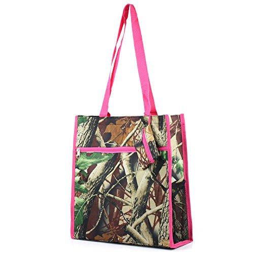 Zodaca Lightweight All Purpose Travel Tote Bag, Natural Camo Pink