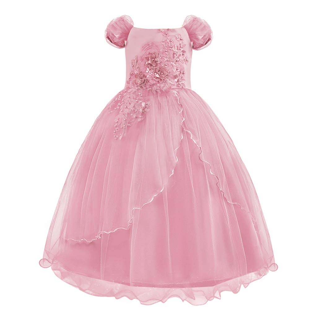 Wenini Girls Lace Bridesmaid Dress Children Kids Princess Bridesmaid Pageant Tutu Tulle Gown Party Wedding Dress Aged 4-13Y Pink by Wenini