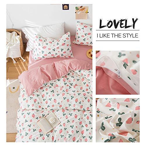 MICBRIDAL Twin Duvet Cover Kids Strawberry Bedding for Girls Boys Hypoallergenic 100% Cotton White Duvet Cover with 2 Pillowcases Modern Fruit Style Strawberry Duvet Cover with Zipper Closure 4 Ties