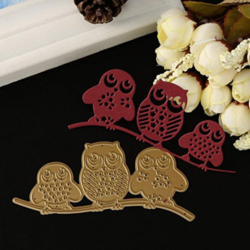 Metal Cutting Dies for Card Making, Mikey Store Flower Leaves Cutting Dies Handmade DIY Stencils Scrapbooking Album Paper Card Craft (3 Owls) by Mikey Store Cutting Dies (Image #2)