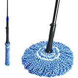 Masthome Easy Self- Wringing Microfiber Twist Mop with Telescopic Stainless Steel Handle for Household Cleaning