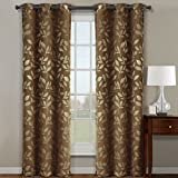 Claire Cafe Grommet Blackout Weave Jacquard Micro-Suede Window Curtain Panels, Pair / Set of 2 Panels, 36×84 inches Each, by Royal Hotel
