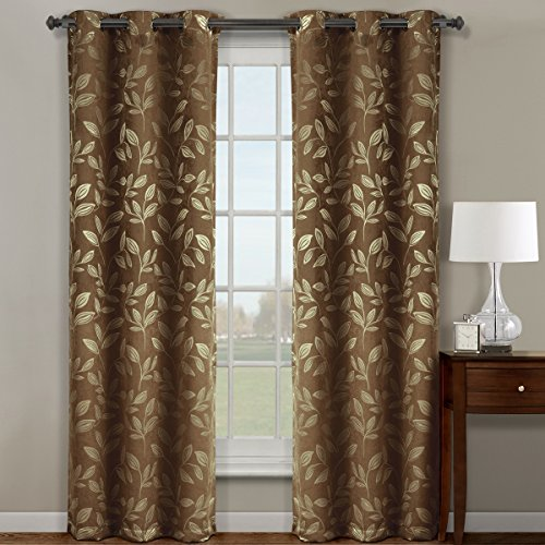 Microsuede Drapery Panel - Claire Cafe Grommet Blackout Weave Jacquard Micro-Suede Window Curtain Panels, Pair / Set of 2 Panels, 36x84 inches Each, by Royal Hotel