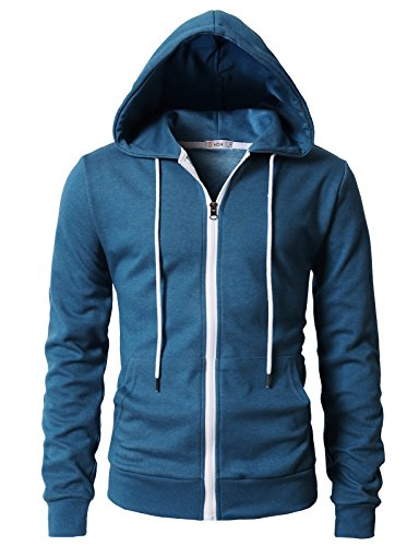H2H Men's Active Basic Hooded Full Zip in Premium Fabric Steelblue US S/Asia M (KMOHOL0131)