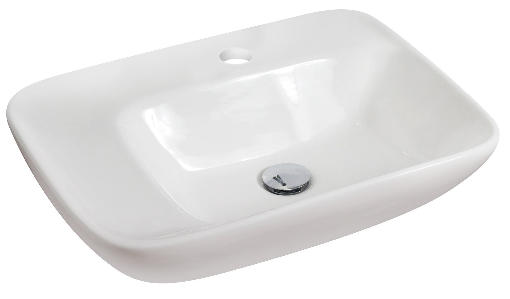 American Imaginations 599   Above Counter Rectangle White Ceramic Vessel with Single Hole