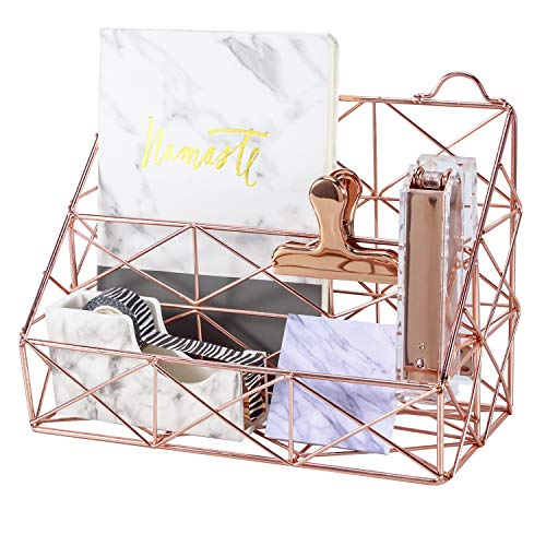 (Simmer Stone Rose Gold Mail Organizer, Plated Wire Metal Wall Mountable Multifunction Storage Rack, Organizer for Mails Books Files Brochures Postcards Makeups and More, 2 Slot, Size 9.8
