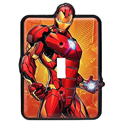 Open Road Brands Marvel Iron Man Tin Metal Wall Light Switch/Plate an Officially Licensed Product Great Addition to Add What You Love to Your Home Decor: Home & Kitchen