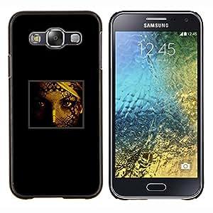 KLONGSHOP // Cubierta de piel con cierre a presión Shell trasero duro de goma Protección Caso - Retrato de la cara de la mujer Ojos Pintura arte de la muchacha - Samsung Galaxy E5 E500 //