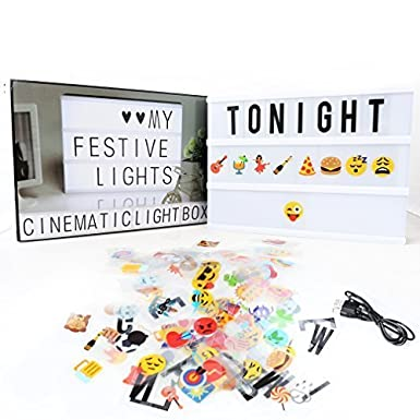 A4 Cinematic Light Box,Delicacy A4 Enhanced Light Box,Light Up Your Life Letter Box with Total 189 Characters //Colorful Symboles
