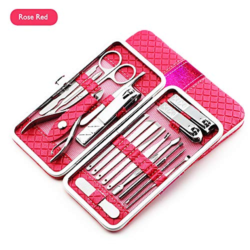 (ONDY Professional Stainless Steel Nail Clipper Set Nail Tools Manicure & Pedicure Set of 18pcs - Travel & Grooming Kit with Fine PU Leather Travel Case (Rose Red))