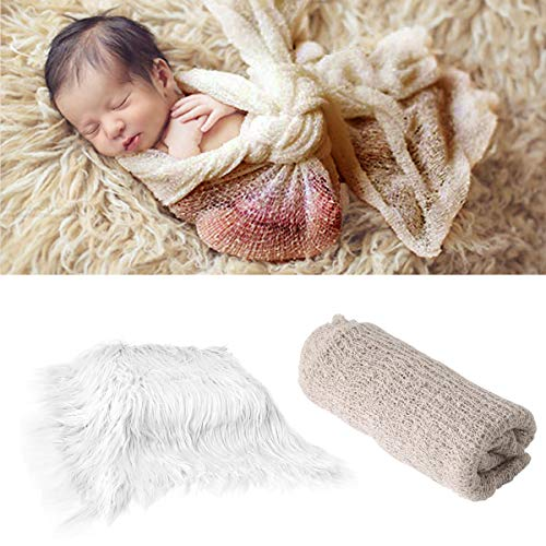 2pcs Baby Newborn Photo Props Wraps Photography Mat Diy Newborn Baby Photo Blanket Swaddle Photography Props Wraps Infant Soft Faux Fur