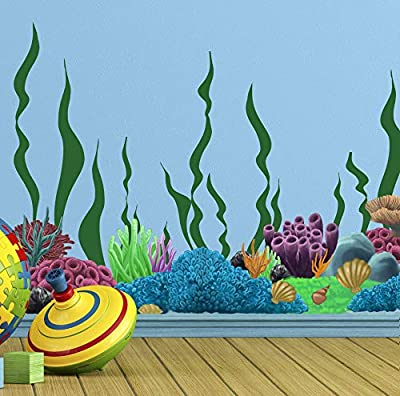 Create-A-Mural Coral & Seaweed, Ocean Wall Decals, Undersea Wall Decor Stickers for Kids Room ~ (34) Sea Wall Stickers