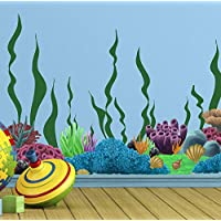 Create-A-Mural Coral & Seaweed, Ocean Wall Decals, Undersea Wall Decor Stickers for Kids Room ~ (34) Underwater Sea Wall Stickers