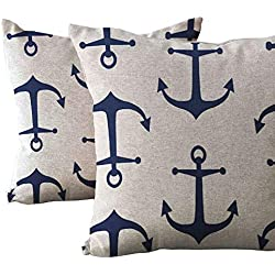 "Pillow Cover Cushion Case 2 Pack Home Decorative Print Anchor Navy Blue White Nautical Throw Pillowcases Standard Size 18""x18"" Square for Sofa Couch Chair Home Decor"