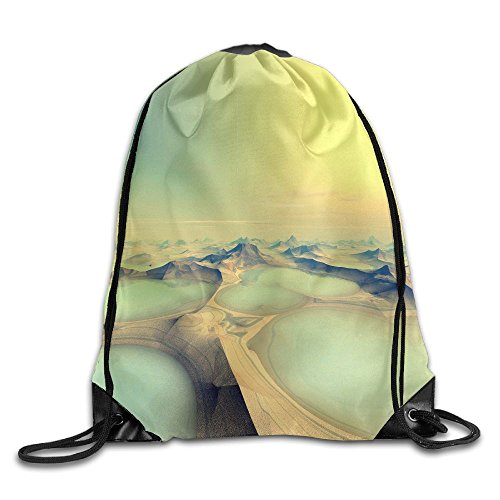 Yishuo Alien Planet D Rendered Computer Artwork Drawstring Pack Beam Mouth Gym Sack Shoulder Bags For Men & Women