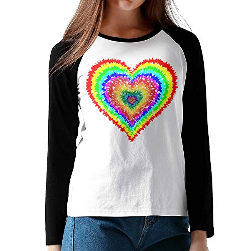 ChangXTWom Womens Cotton Raglan Long Sleeve T-Shirts Tye Dye Heart Round Neck Baseball Tee Shirt for Women Black