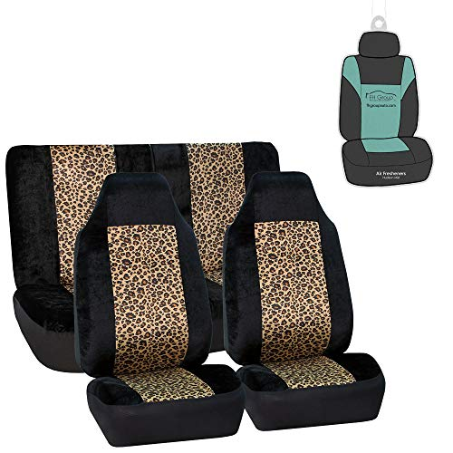FH Group FB126112 Leopard Print Car Seat Covers, Airbag compatible and Split Bench, 2 Tone Classic Leopard w. Free Air Freshener
