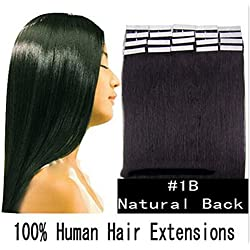 """Futuretrend #1B 16"""" 18"""" 20"""" 22"""" 24"""" Inches 20 Pcs Per Set Pu Tape in 100% Remy Human Hair Extensions Fashion Tape in Hair Extensions"""