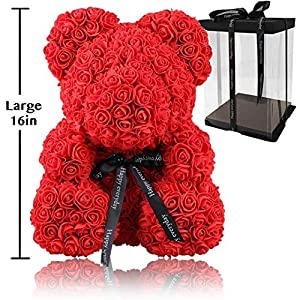 Rose Flower Bear - Fully Assembled 16 inch Hugz Teddy Bear - Over 20 Dozen Artificial Flowers - Best Gift for Mothers Day, Valentines Day, Anniversary, Bridal Showers (Red) - w/Clear Gift Box 3