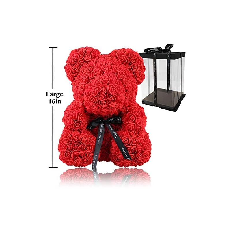 silk flower arrangements rose flower bear - large 16 inch fully assembled hugz teddy bear - over 200 artificial flowers - gift for mothers day, valentines day, anniversary & bridal showers - w/clear gift box (red, large)