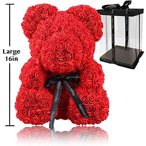 Rose Flower Bear - Fully Assembled 16 inch Hugz Teddy Bear - Over 20 Dozen Artificial Flowers - Best Gift for Mothers Day, Valentines Day, Anniversary, Bridal Showers (Red) - w/Clear Gift Box (Bridal Shower Anniversary)