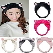 Mokde Mondge Cute Cat Ear Hair Band For Women Wash Face Makeup Running Sport, 5 Piece