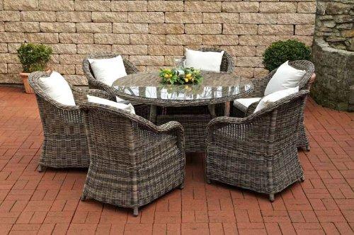 CLP Poly-Rattan Sitzgruppe STAVANGER grau-meliert (6 Gartensessel + Esstisch rund Ø 130 cm + Sitzauflagen) grau meliert, Bezug creme
