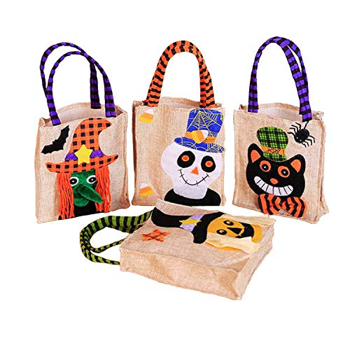 PUTING 4-Pack Halloween Tote Bags Candy Buckets Baskets for Kids and Toddlers, Ghost Witch Pumpkin Cat Patte