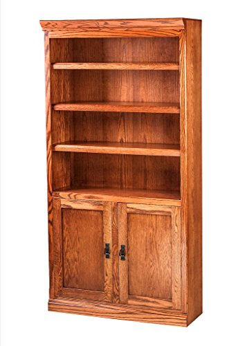 """Mission Bookcase: Lower Doors (One fixed shelf at 30""""H. Six adjustable shelves) Coffee Oak For Sale"""