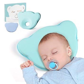 Almohada para Bebé Plagiocefalia con Extra Fundas, Almohada Ortopédica para Prevenir la Plagiocefalia o la Cabeza Plana para Bebé Recien Nacido 0~12 ...