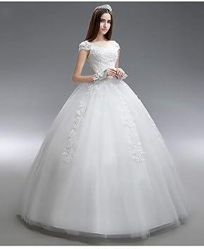 WFL Vestido de Novia Blanco Primavera y Verano Palabra Simple Hombro Novia Vestido de Novia de