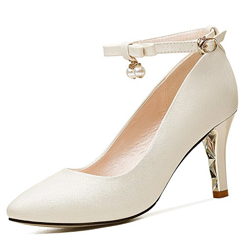 Slotted Shoes Leather And Beige Small Shoes That Heels 8Cm Stylish Versatile Point Women Shoes Down By High Spring Broken HGTYU 5TXx44